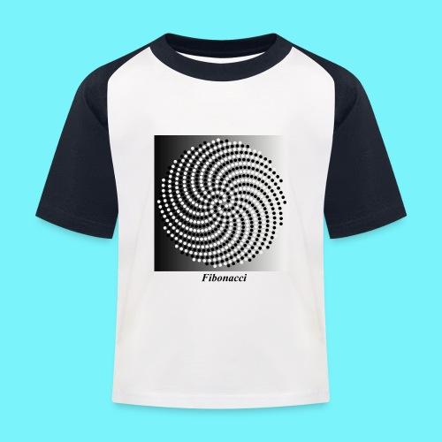 Fibonacci spiral pattern in black and white - Kids' Baseball T-Shirt