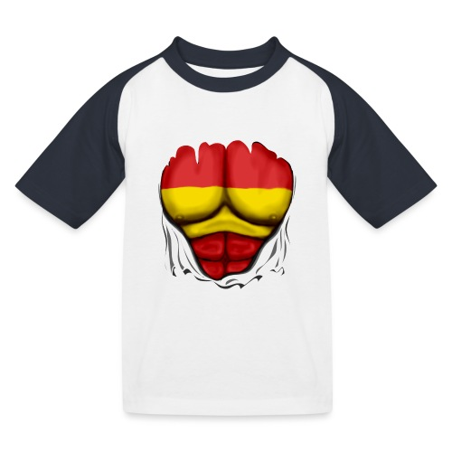 España Flag Ripped Muscles six pack chest t-shirt - Kids' Baseball T-Shirt