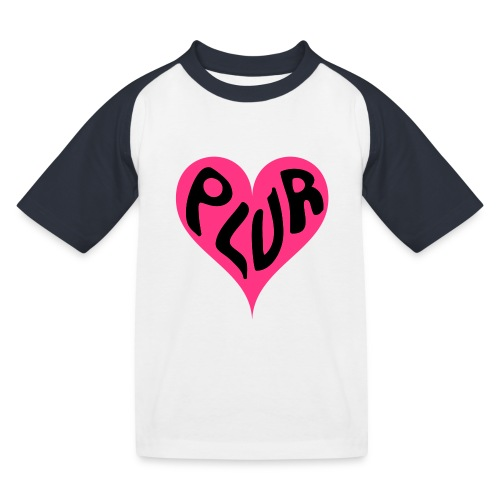 PLUR - Peace Love Unity and Respect love heart - Kids' Baseball T-Shirt