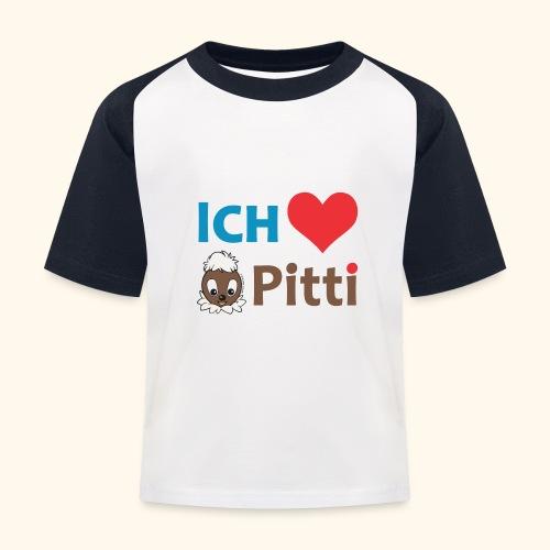 Pittiplatsch Ich liebe Pitti auf hell (blau/braun - Kinder Baseball T-Shirt