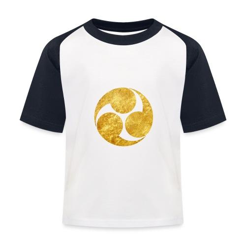 Kobayakawa Mon Japanese clan gold on black - Kids' Baseball T-Shirt