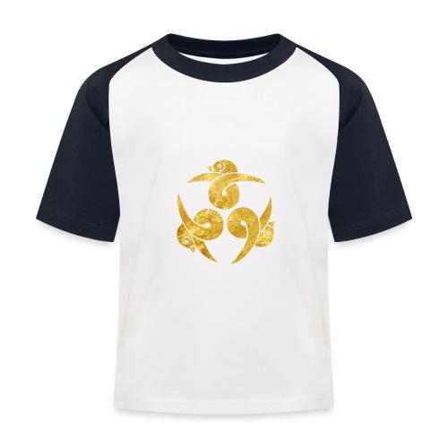 Three Geese Japanese Kamon in gold - Kids' Baseball T-Shirt