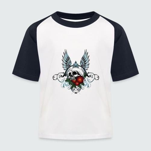 Skull Rose & Wing - Maglietta da baseball per bambini