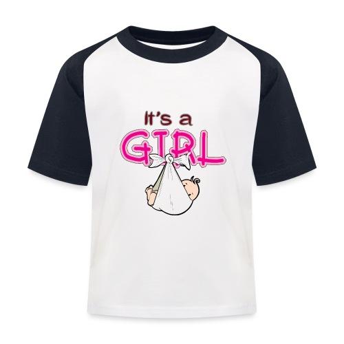 Babyshower It's a Girl - Kinderen baseball T-shirt