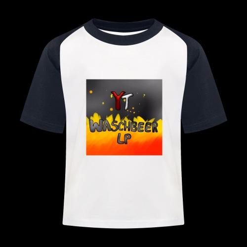 Waschbeer Design 2# Mit Flammen - Kinder Baseball T-Shirt