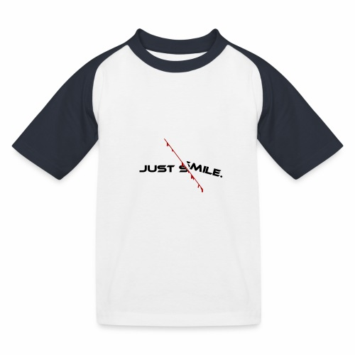 JUST SMILE Design mit blutigem Schnitt, Depression - Kinder Baseball T-Shirt