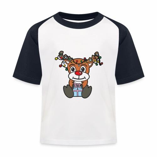 Rentier mit Lichterkette - Kinder Baseball T-Shirt
