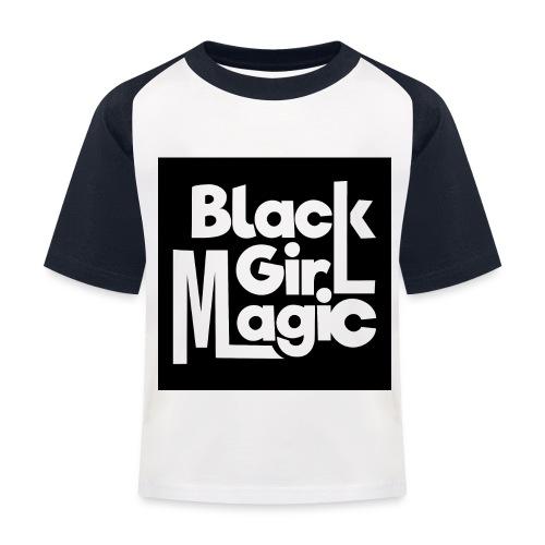 Black Girl Magic 2 White Text - Kids' Baseball T-Shirt
