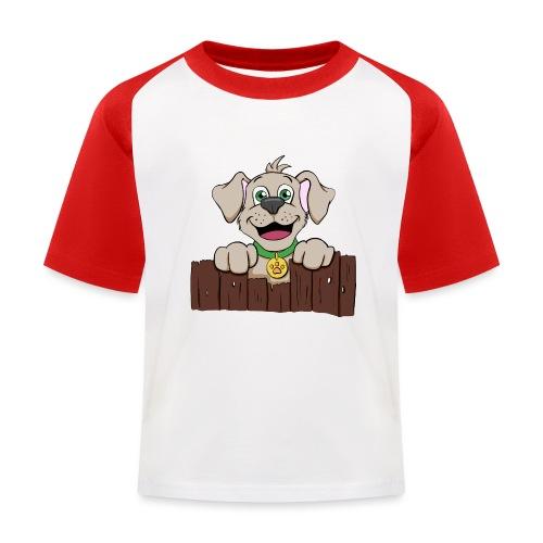 Kleiner Hund schaut über Zaun - Kinder Baseball T-Shirt