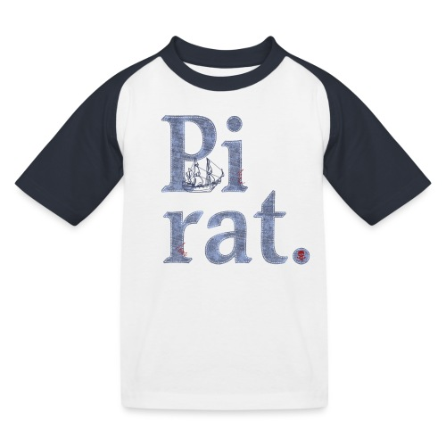 Pirat mit Schiff - Kinder Baseball T-Shirt
