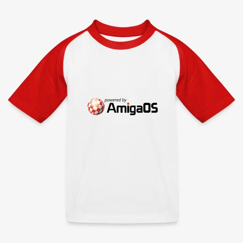 PoweredByAmigaOS Black - Kids' Baseball T-Shirt