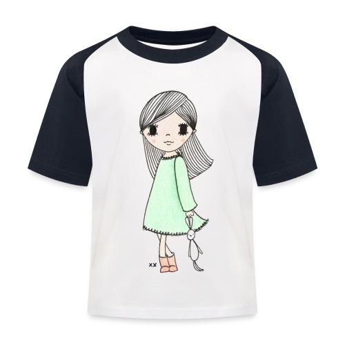meisje met knuffel - Kinderen baseball T-shirt