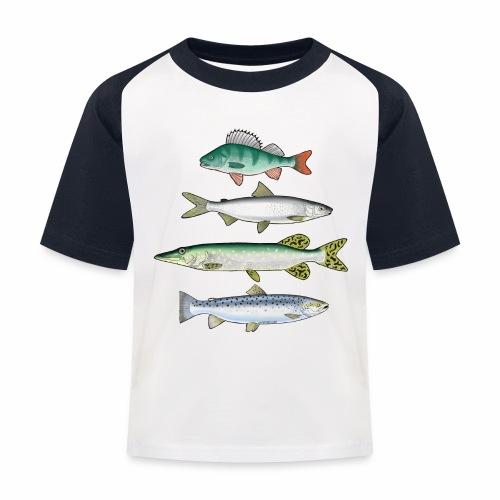 FOUR FISH - Ahven, siika, hauki ja taimen tuotteet - Lasten pesäpallo  -t-paita