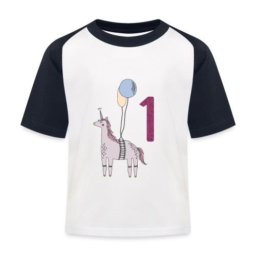 1 Jahr Einhorn / Geschenkidee zum 1. Geburtstag - Kinder Baseball T-Shirt