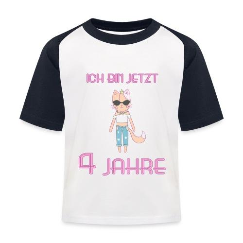Ich bin jetzt 4 Jahre / Geschenk zum 4. Geburtstag - Kinder Baseball T-Shirt