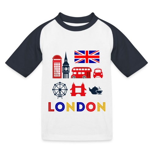Vintage London Souvenir - Retro Briefmarke London - Kinder Baseball T-Shirt