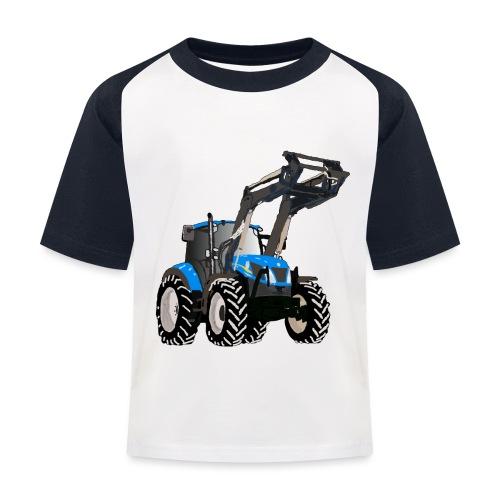 Blauer Traktor mit Frontlader - Kinder Baseball T-Shirt