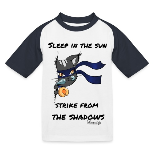 Ninja Cat gluurt vanuit shirt EnChantalled png - Kids' Baseball T-Shirt