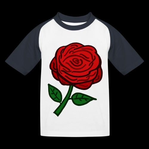Rote Rose - Kinder Baseball T-Shirt