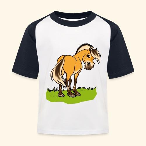 Freundliches Fjordpferd (Ohne Text) Weisse Umrisse - T-shirt baseball Enfant