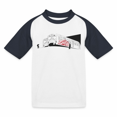 Throw up 2wear graffiti trains ver02 1 - Baseball T-shirt til børn