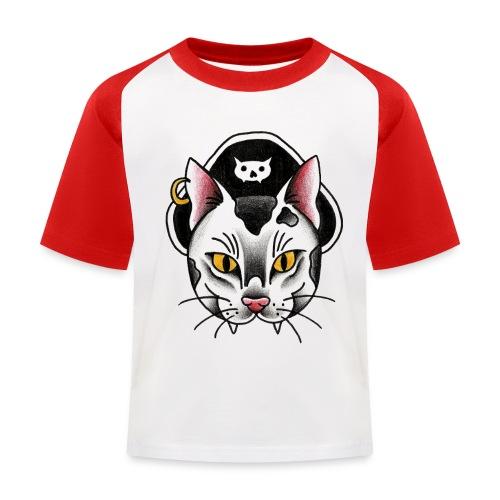 Piratecat - Maglietta da baseball per bambini