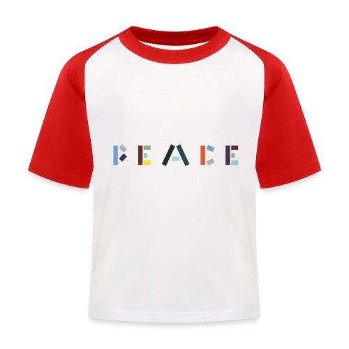 Peace på skrift - Baseball T-shirt til børn
