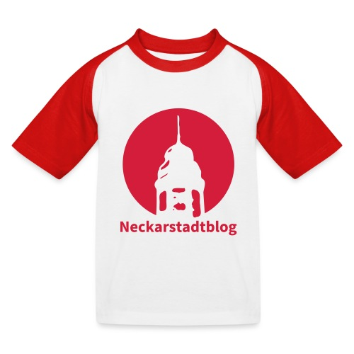 Logo mit Schriftzug invertiert (Alternative Farben - Kinder Baseball T-Shirt
