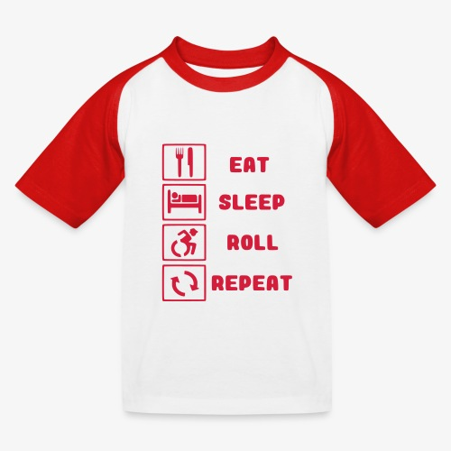>Eten, slapen, rollen met rolstoel en herhalen 001 - Kinderen baseball T-shirt
