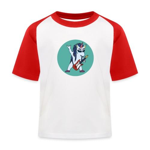 Licorne guitare metal fond vert bleu - T-shirt baseball Enfant