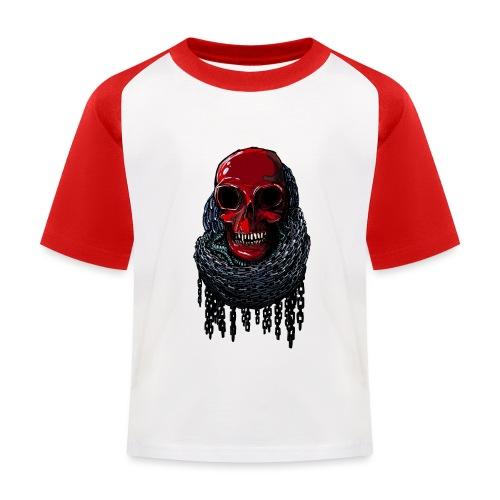 RED Skull in Chains - Kids' Baseball T-Shirt