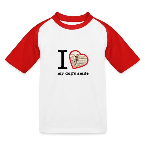 I love my dog's smile :) dog smile - Kids' Baseball T-Shirt