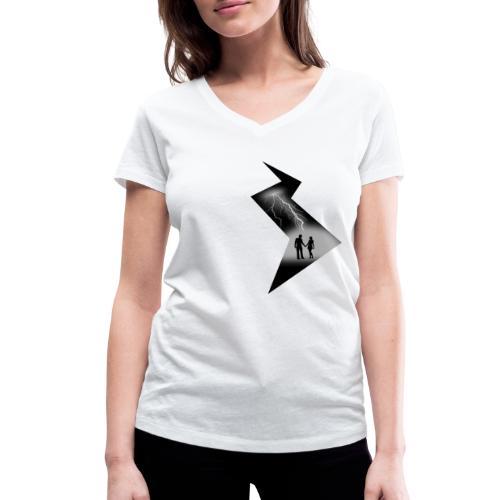 t shirt coup de foudre noir et blanc amour love - T-shirt bio col V Stanley & Stella Femme