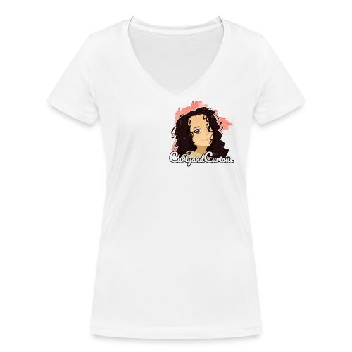 CurlyAndCurious - T-shirt ecologica da donna con scollo a V di Stanley & Stella