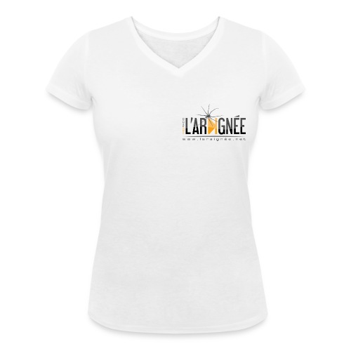 L'ARAIGNÉE, logo noir - T-shirt bio col V Stanley & Stella Femme