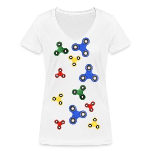 Fidget Spinner Tornado - T-shirt ecologica da donna con scollo a V di Stanley & Stella