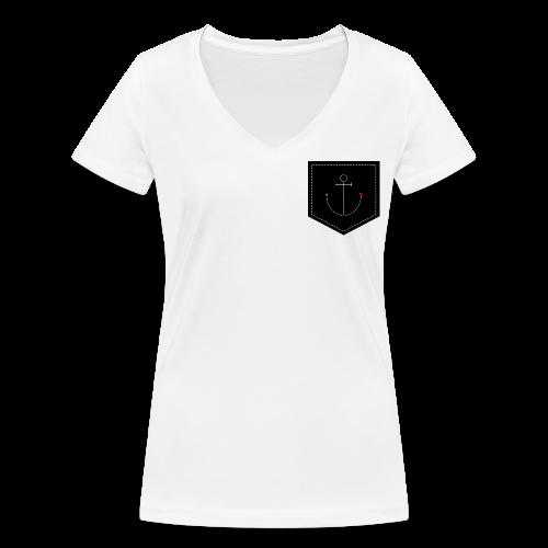 Brusttasche Anker mit Herz - Frauen Bio-T-Shirt mit V-Ausschnitt von Stanley & Stella