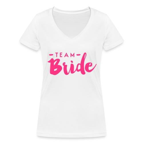TeamBride - Frauen Bio-T-Shirt mit V-Ausschnitt von Stanley & Stella