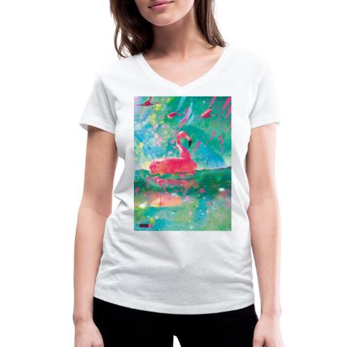 05 Flamingo Summer Dream Poster Margarita Pop Art - Frauen Bio-T-Shirt mit V-Ausschnitt von Stanley & Stella