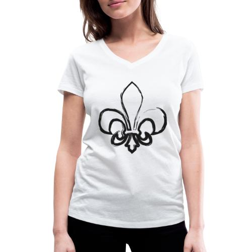 Pinselzeichnung Lilie – Schwarz - Frauen Bio-T-Shirt mit V-Ausschnitt von Stanley & Stella