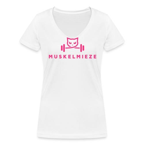 Muskelmieze Pink - Frauen Bio-T-Shirt mit V-Ausschnitt von Stanley & Stella