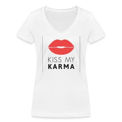 kiss my karma - Frauen Bio-T-Shirt mit V-Ausschnitt von Stanley & Stella