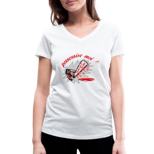 t shirt possessive moi ... touche pas à ma fille - T-shirt bio col V Stanley & Stella Femme