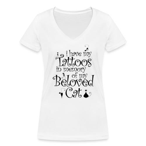 Katze Tattoo Tätowierungen Katzen Katzenmama - Frauen Bio-T-Shirt mit V-Ausschnitt von Stanley & Stella
