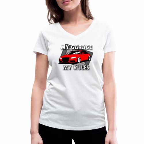 My Garage My Rules roter Sportwagen vor Garage - Frauen Bio-T-Shirt mit V-Ausschnitt von Stanley & Stella