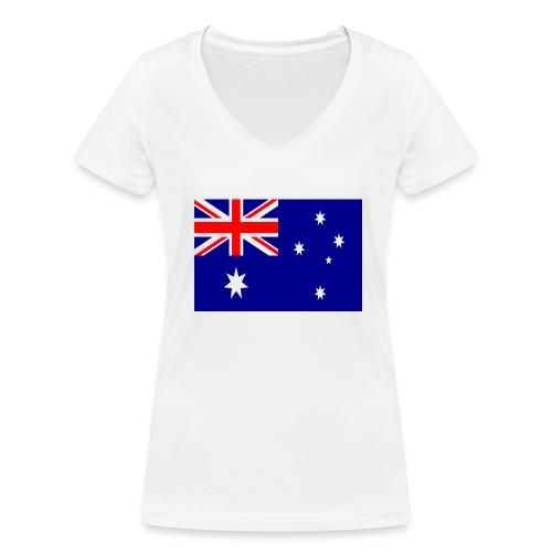 Australia flag - Women's Organic V-Neck T-Shirt by Stanley & Stella