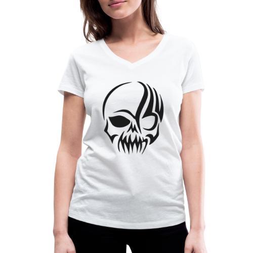tribals skull - Frauen Bio-T-Shirt mit V-Ausschnitt von Stanley & Stella