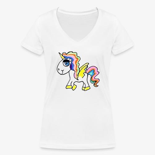 Buntes lässiges Einhorn - Frauen Bio-T-Shirt mit V-Ausschnitt von Stanley & Stella