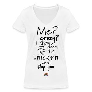 Crazy Unicorn Style (Dark) - Women's Organic V-Neck T-Shirt by Stanley & Stella
