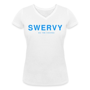 SWERVY BE THE CHANGE - BLUE - Women's Organic V-Neck T-Shirt by Stanley & Stella